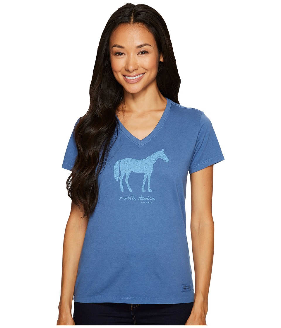 Life is Good Mobile Device Horse Crusher Vee (Vintage Blue) Women