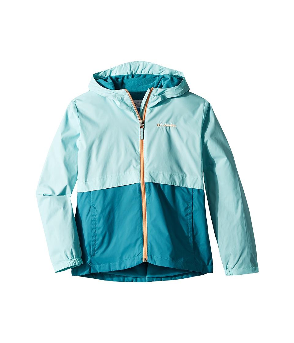 Columbia Kids Rain-Zillatm Jacket (Little Kids/Big Kids) (Candy Mint/Emerald Sea/Peach Logo) Girl