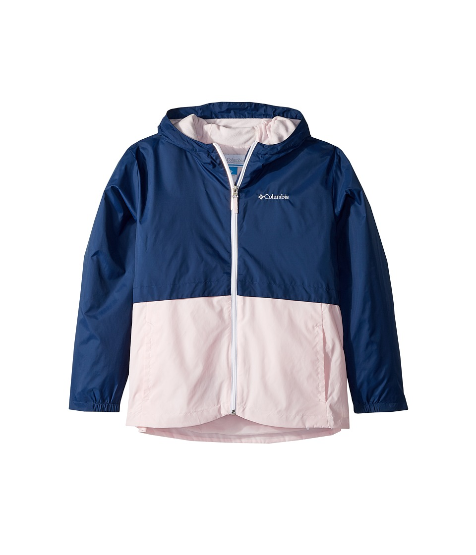 Columbia Kids Rain-Zillatm Jacket (Little Kids/Big Kids) (Carbon/Whitened Pink/White Logo) Girl