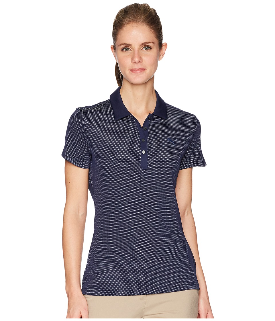 PUMA Golf - Jacquard Polo (Peacoat) Womens Short Sleeve Pullover