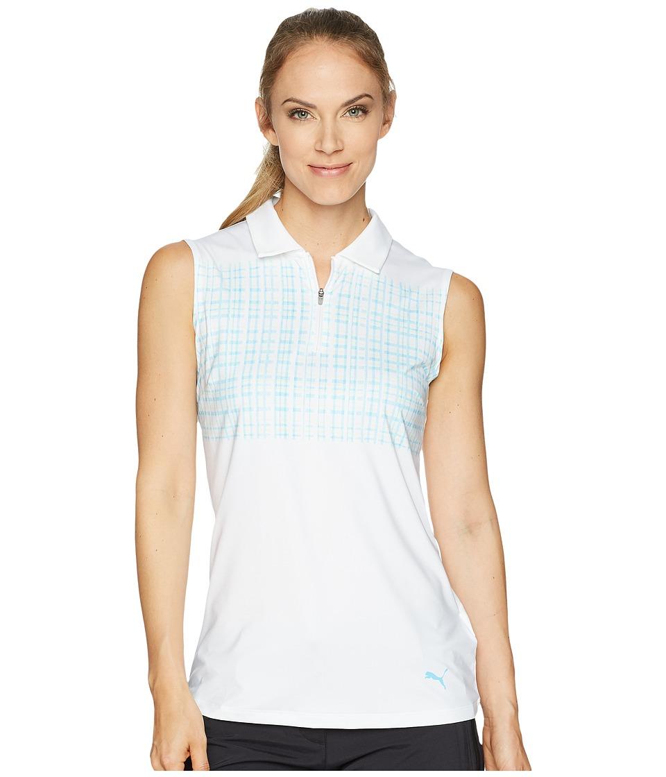 PUMA Golf - Sleeveless Sport Polo (Bright White/Aquarius) Womens Sleeveless