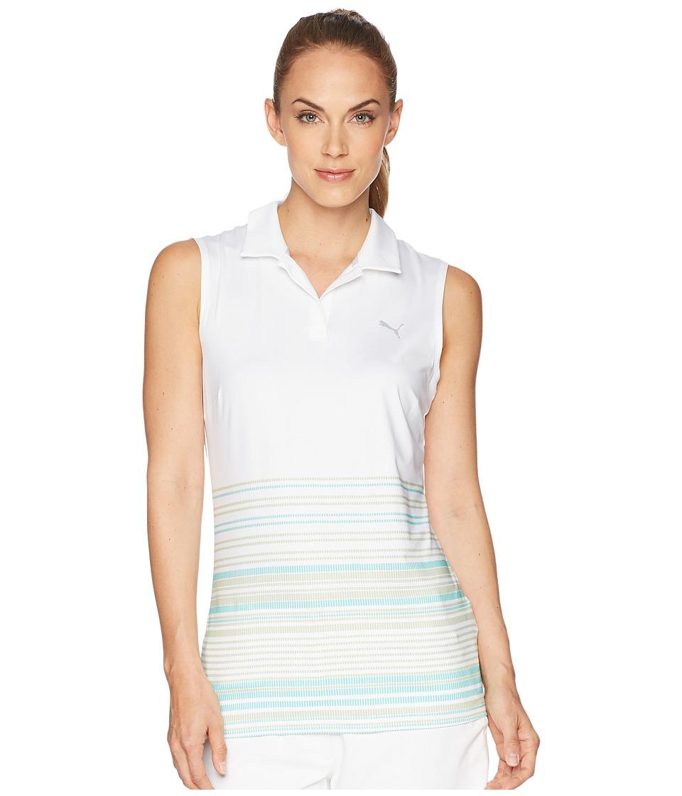 PUMA Golf - Sleeveless Road Map Polo (Bright White/Aquarius) Womens Sleeveless