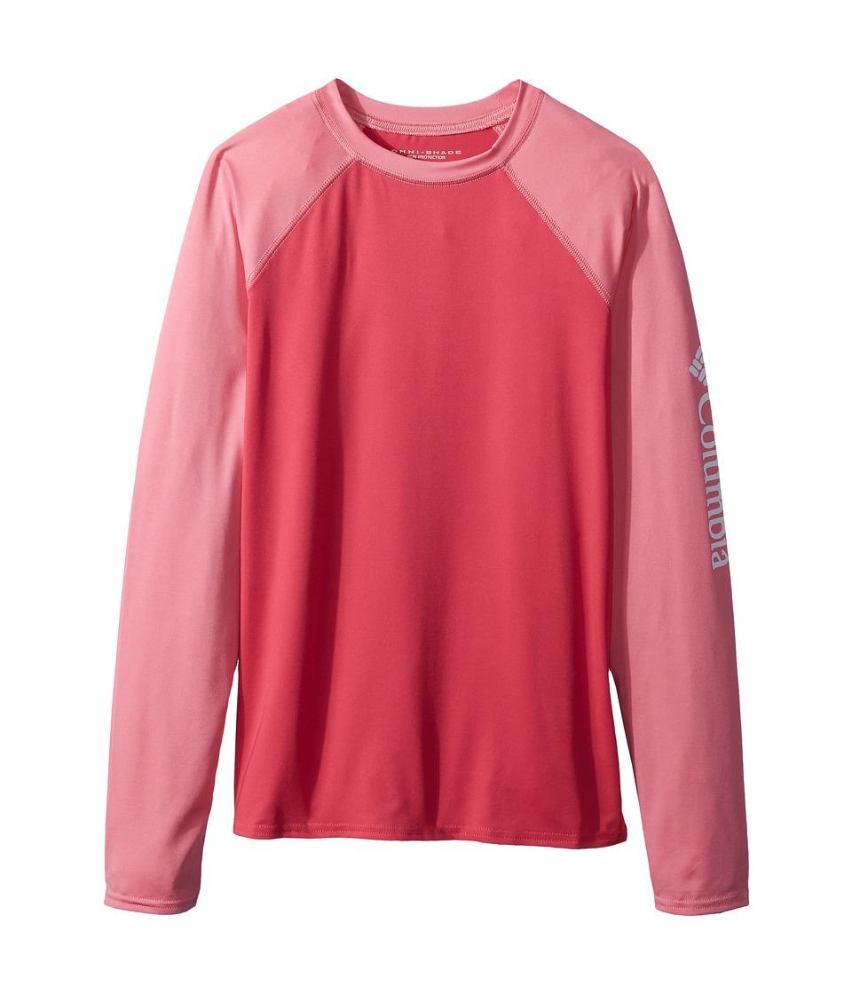 Columbia Kids - Mini Breakertm Long Sleeve Rashguard (Little Kids/Big Kids) (Punch Pink/Lollipop/White) Girls Long Sleeve Pullover