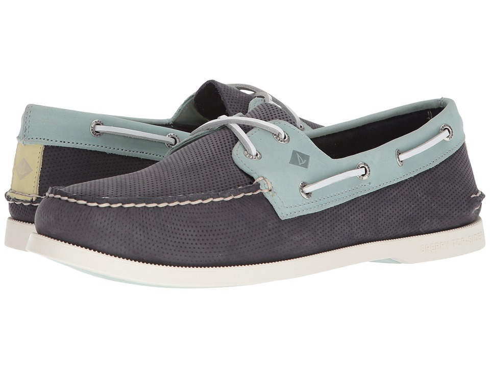 Sperry A/O 2-Eye Perforated (Navy/Seafoam) Men
