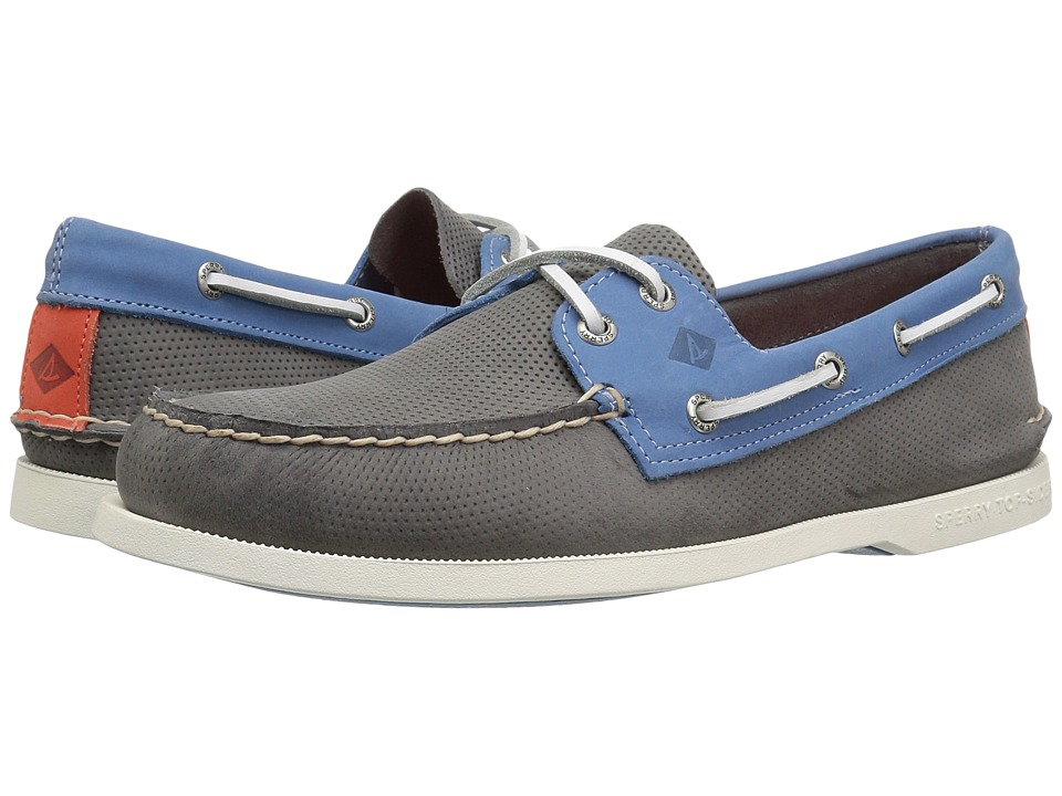 Sperry A/O 2-Eye Perforated (Grey/Blue) Men