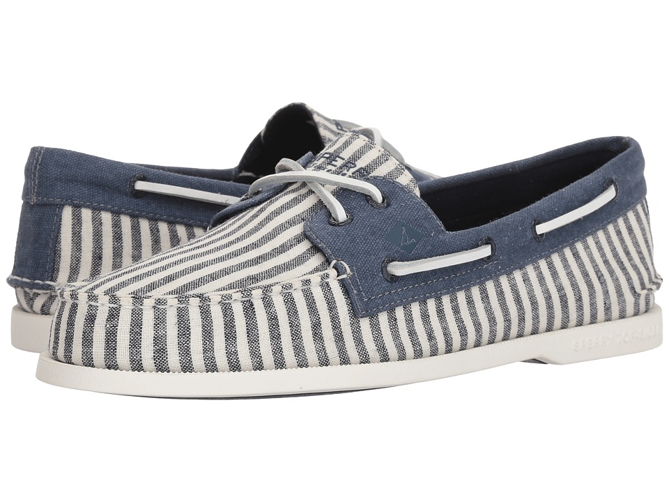 Sperry - A/O 2-Eye Washed (Navy/White Stripe) Mens Lace Up Moc Toe Shoes