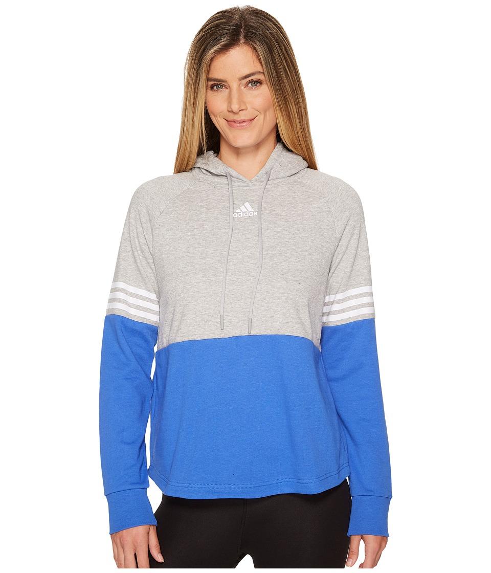 adidas Sport ID Hoodie (Medium Grey Heather/Hi-Res Blue) Women