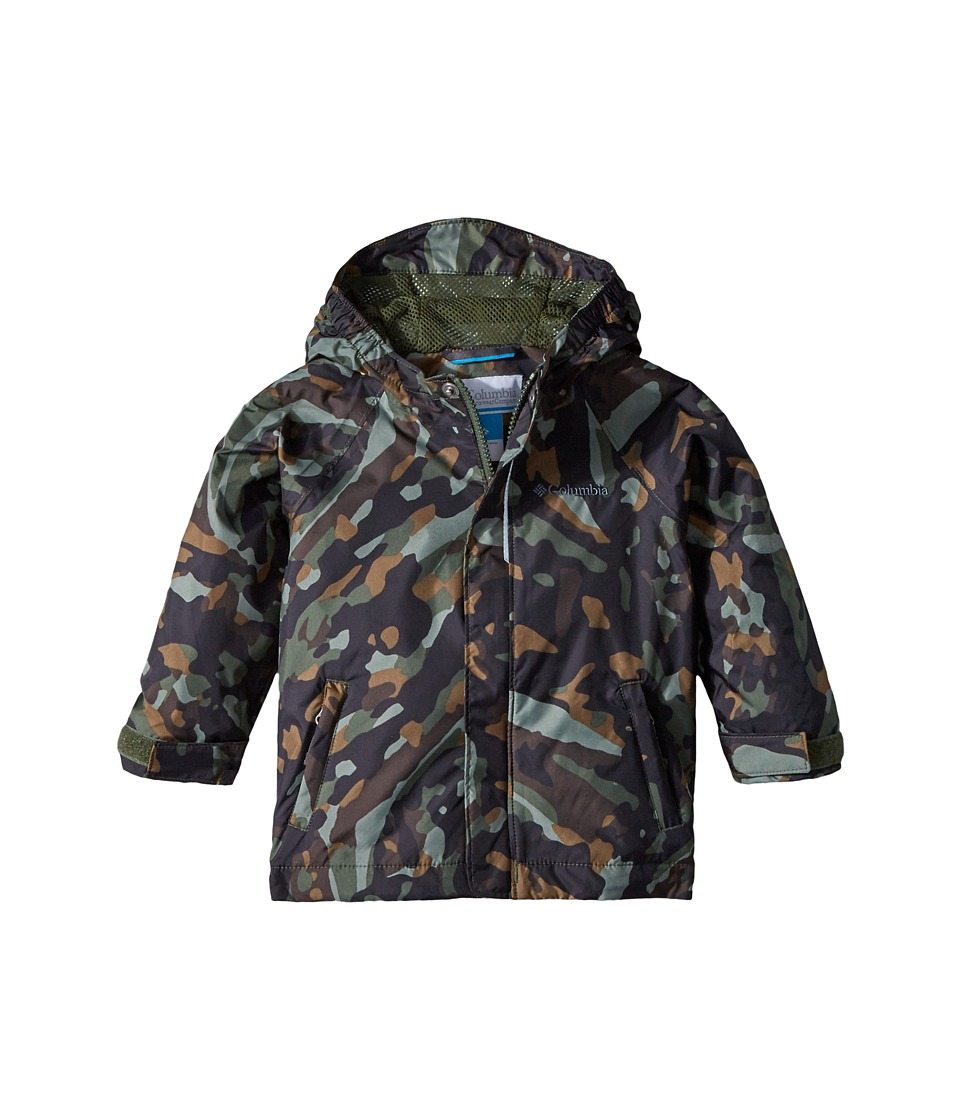 Columbia Kids - Fast Curioustm Rain Jacket (Toddler) (Surplus Green Camo/Shark) Boys Coat