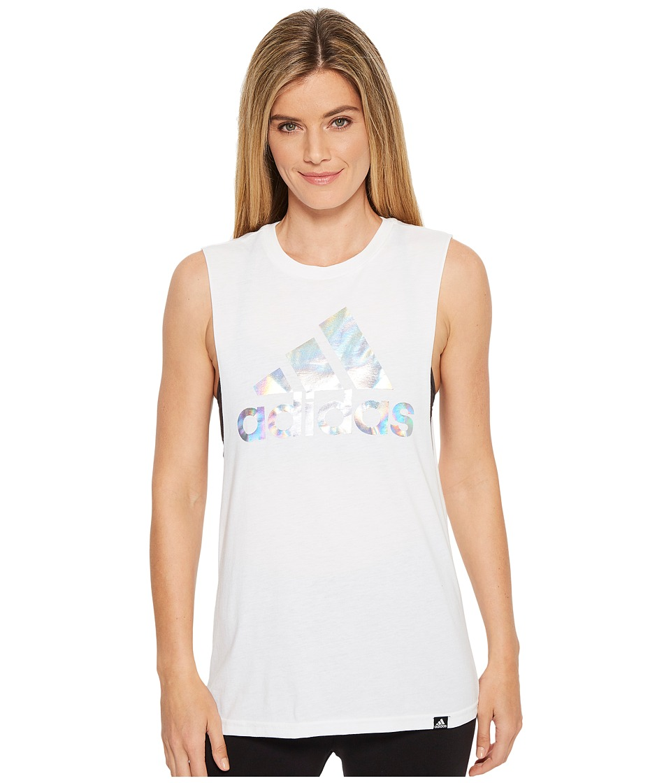 adidas Badge of Sport Clear Foil Muscle Tank Top (White/Medium Grey Heather) Women