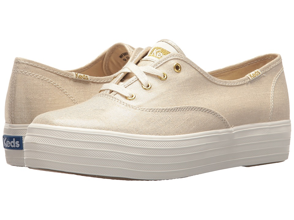 Keds - Triple Metallic Linen (Gold) Womens Lace up casual Shoes