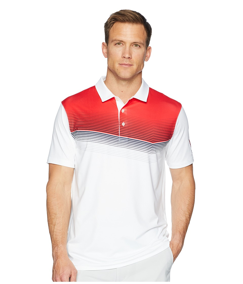 PUMA Golf - Volition Road Map Polo (Bright White/High Risk Red) Mens Short Sleeve Pullover