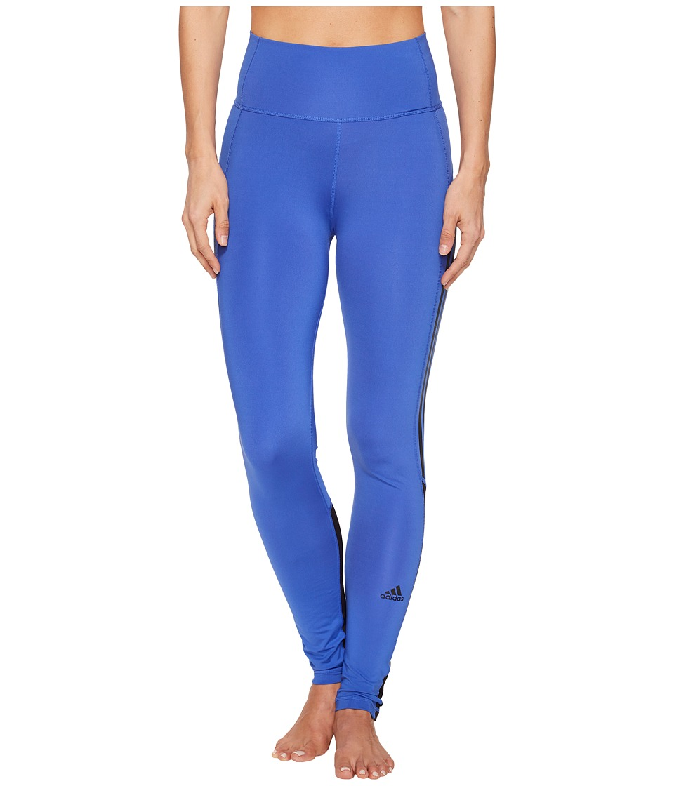 adidas Believe This High-Rise Heathered 3-Stripes 7/8 Tights (Hi-Res Blue) Women