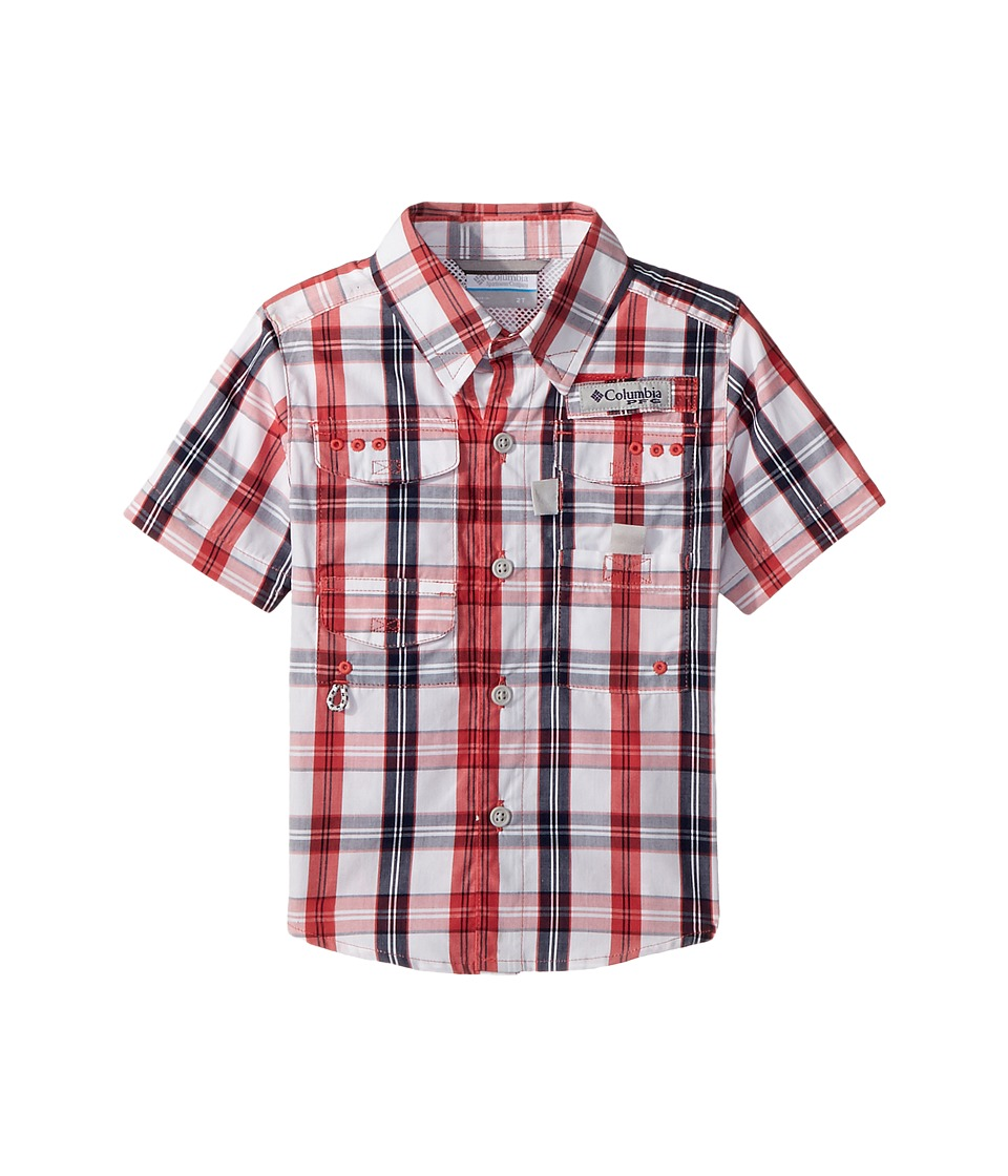 Columbia Kids - Super Boneheadtm Short Sleeve (Toddler) (Sunset Red Plaid) Boys Short Sleeve Button Up