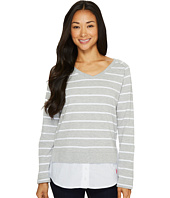 U.S. POLO ASSN. - Striped French Terry and Woven Twofer Top