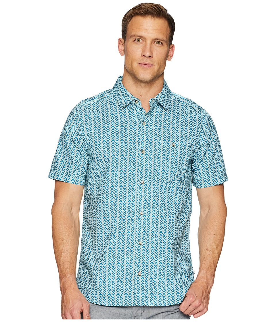 Toad&Co - Fletch Print Short Sleeve Shirt (Arctic Birdseye Print) Mens Short Sleeve Button Up