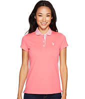 U.S. POLO ASSN. - Woven Trimmed Solid Stretch Pique Polo Shirt