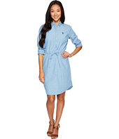 U.S. POLO ASSN. - Hi-Lo Pullover Shirtdress with Drawstreet Waistband