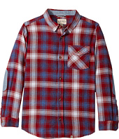 Lucky Brand Kids - Long Sleeve Plaid Shirt Chambray Elbow (Big Kids)