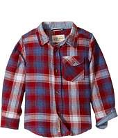 Lucky Brand Kids - Long Sleeve Plaid Shirt Chambray Elbow (Toddler)