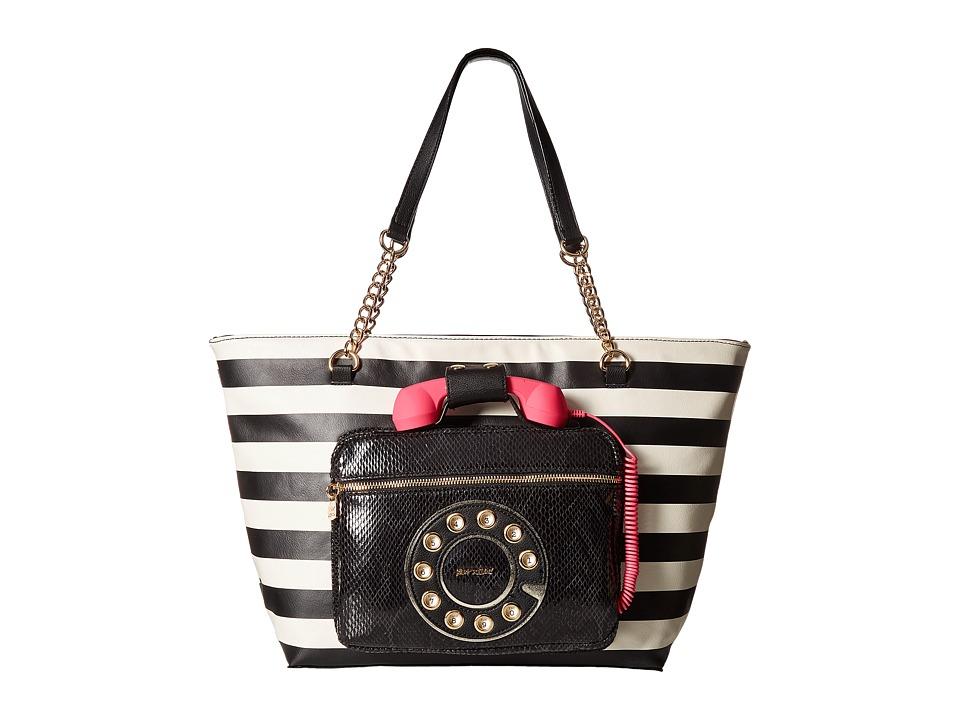 Vintage Retro Halloween Themed Clothing Betsey Johnson - Hold Please Phone Tote Stripe Tote Handbags $128.00 AT vintagedancer.com