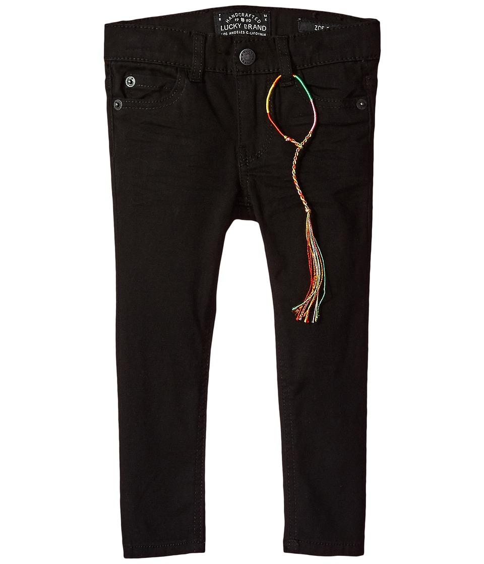 Lucky Brand Kids Zoe Five-Pocket Colored Brushed Jeans in Black (Big Kids) (Black) Girl