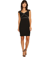 Sangria - Cap Sleeeve Embellished Crepe Sheath