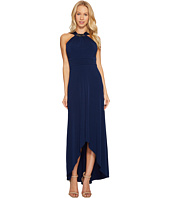 Sangria - Jewel Neck Solid High-Low Maxi