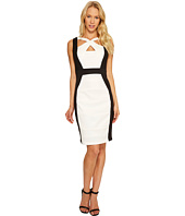 Sangria - Solid Color Block Cut Out Neck Sheath