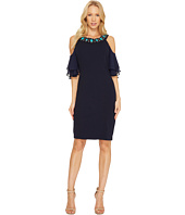 Sangria - Cold Shoulder Jewel Neck Sheath
