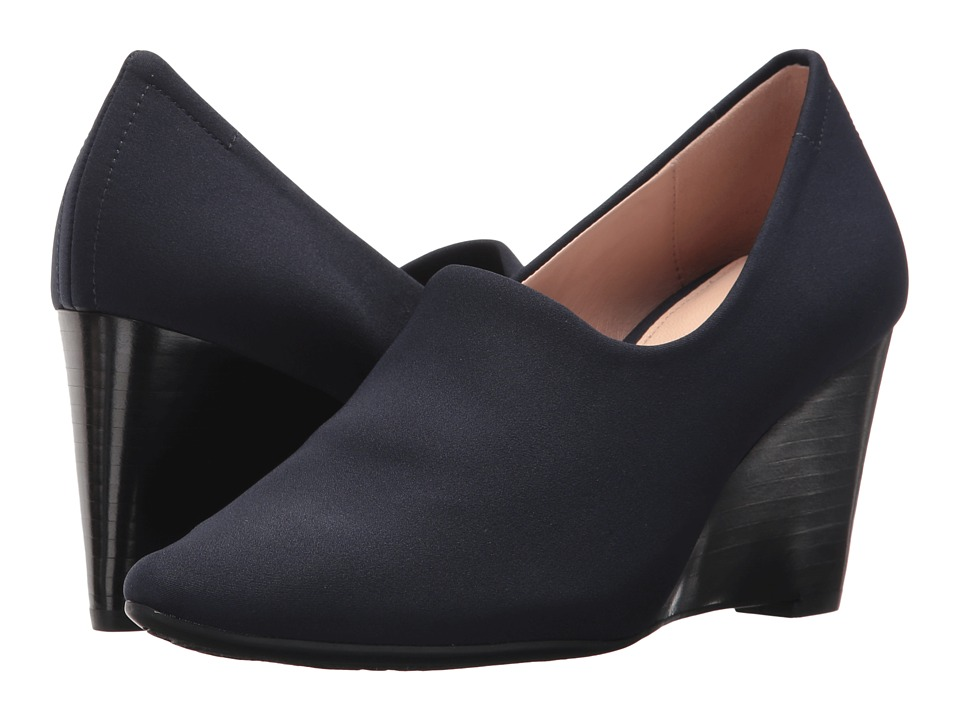 Taryn Rose - Yvonne (Navy Sleek Scuba) Womens Wedge Shoes