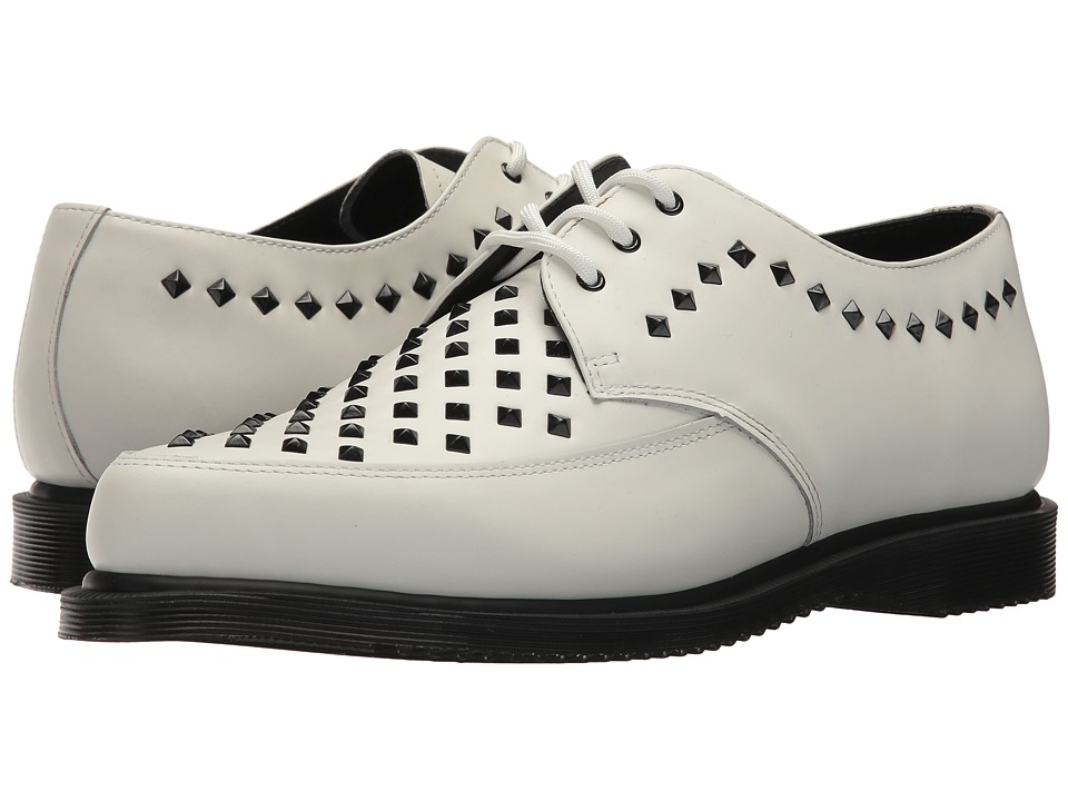 1960s Men's Clothing, 70s Men's Fashion Dr. Martens - Willis Stud Creeper White Smooth Boots $150.00 AT vintagedancer.com