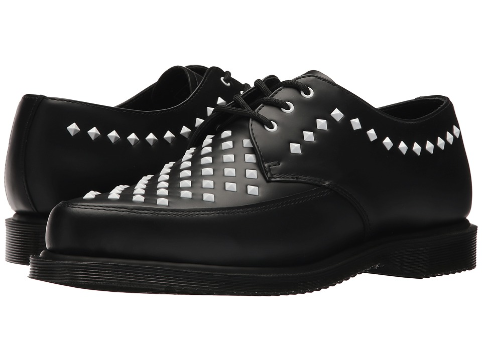 Mens Vintage Style Shoes| Retro Classic Shoes Dr. Martens Willis Stud Creeper Black Smooth Boots $150.00 AT vintagedancer.com