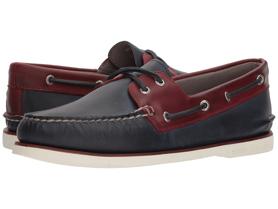 Sperry Gold A/O 2-Eye Roustabout (Navy/Red) Men