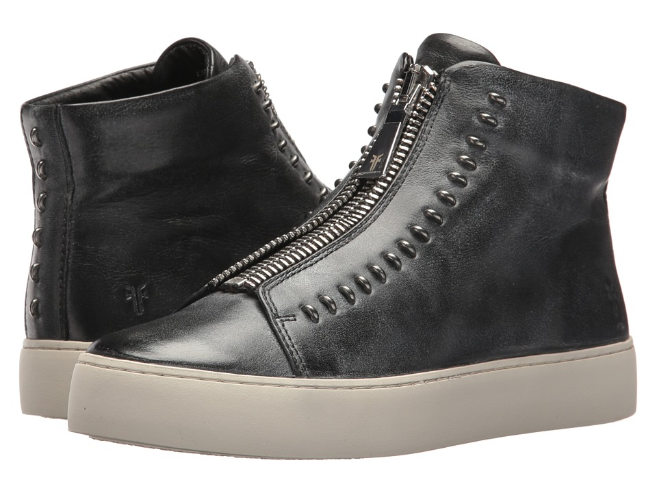 Frye Lena Rebel Zip High (Black Polished Soft Full Grain)