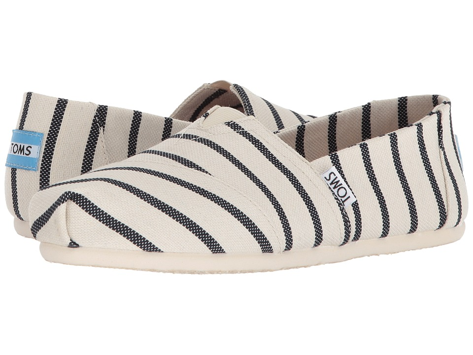 TOMS Venice Collection Alpargata (White/Navy Riviera Stripe) Slip-On Shoes