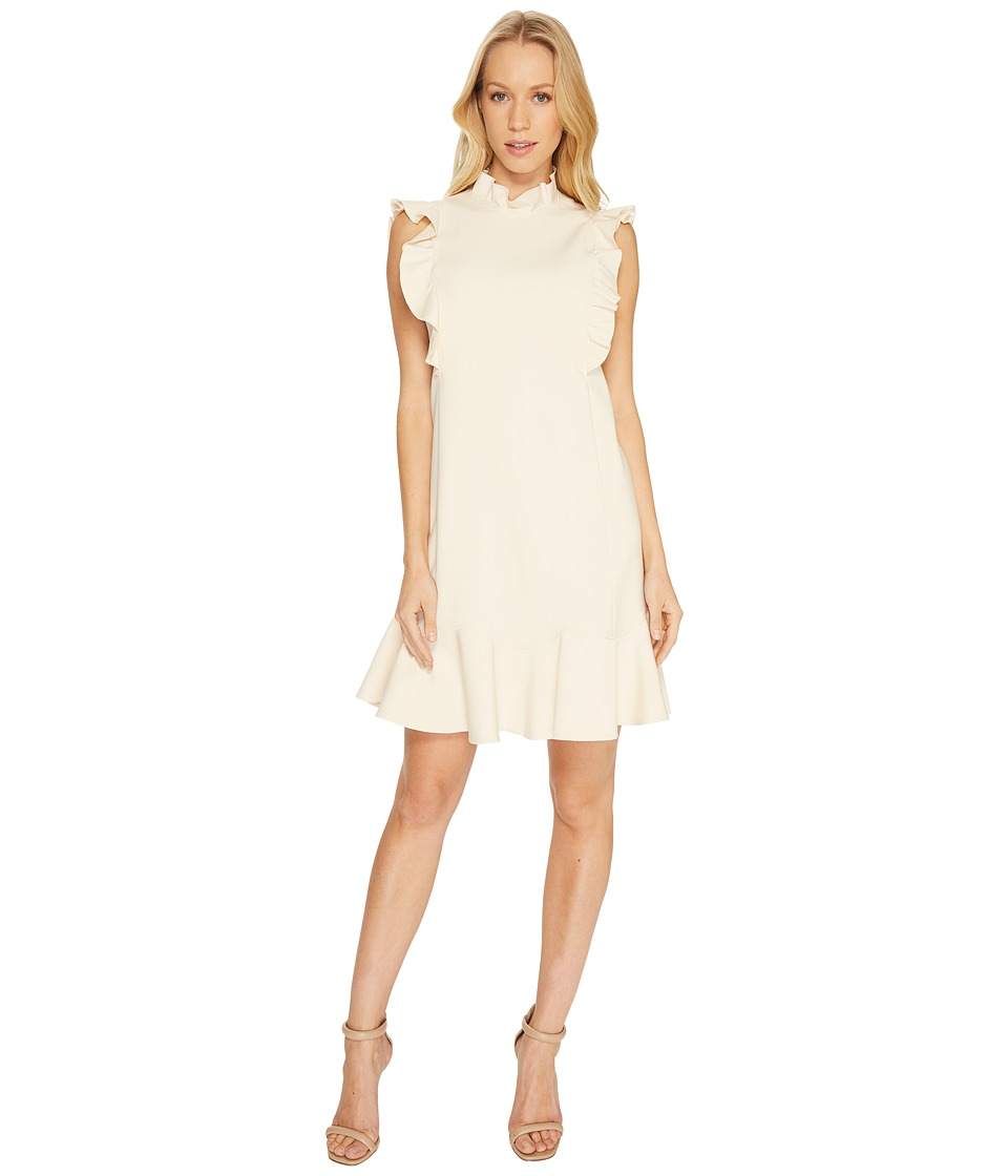 Rebecca Taylor Sleeveless Ruffle Suiting Dress (Cream) Women