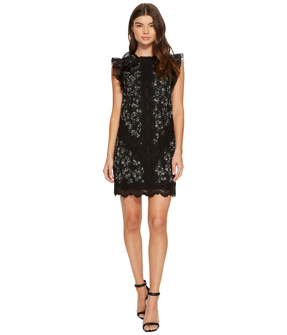 Rebecca Taylor Sleeveless Moonflower Embroidered Dress (Black Combo) Women
