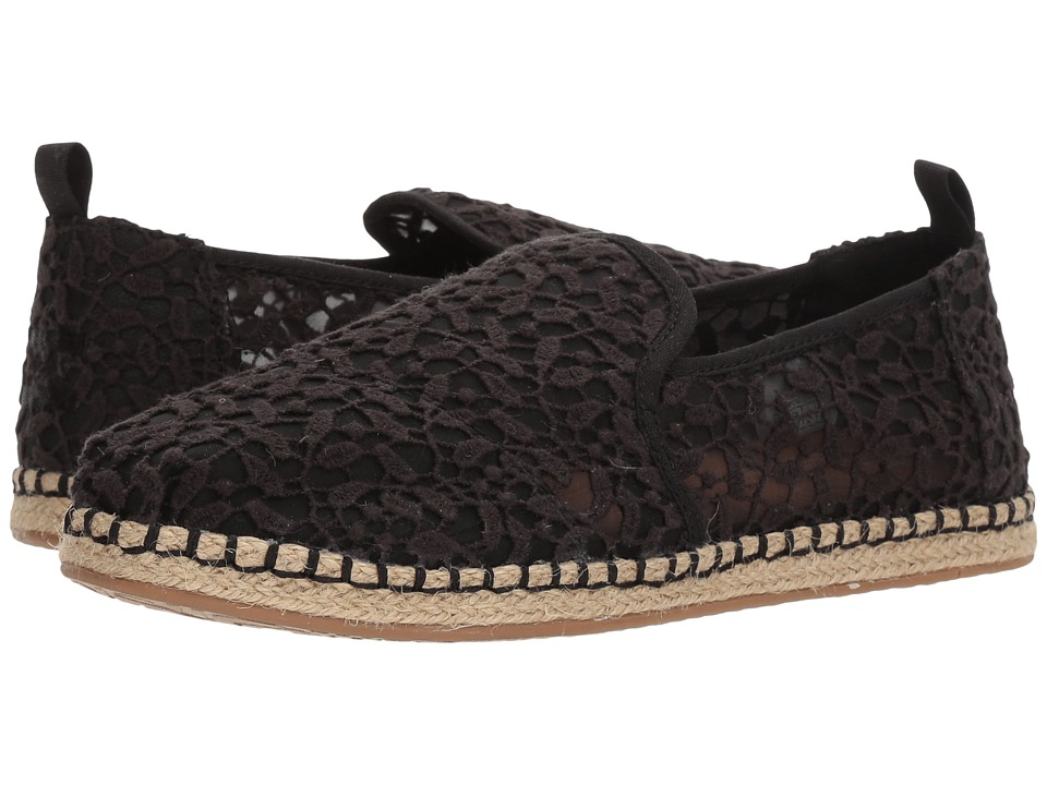 TOMS Deconstructed Alpargata Rope (Black Lace Leaves) Slip-On Shoes
