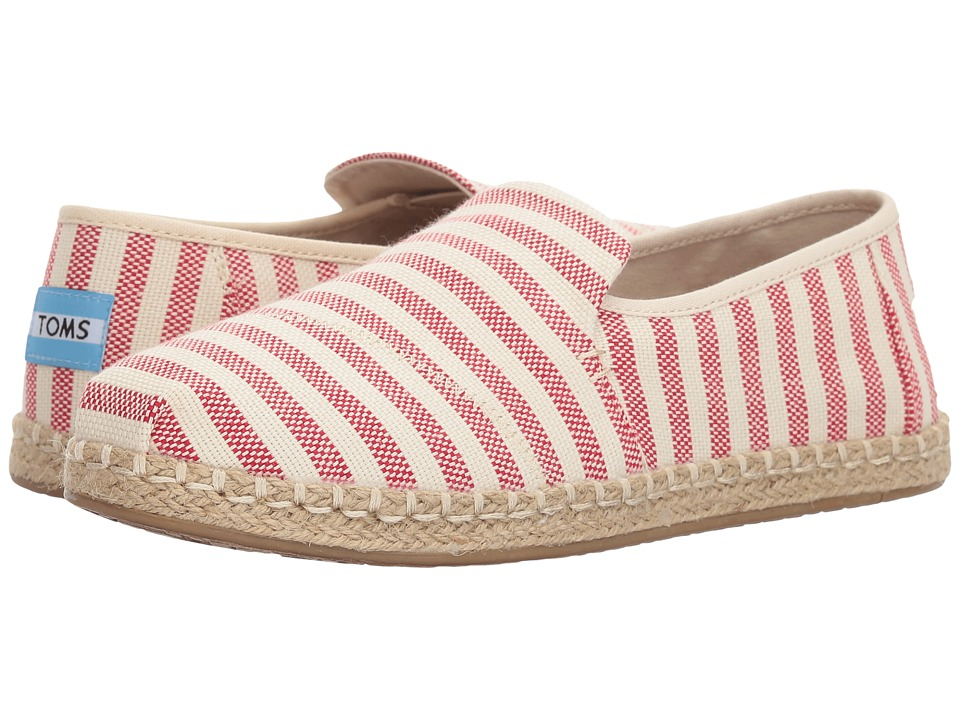 TOMS Deconstructed Alpargata Rope (Red Woven Stripe) Slip-On Shoes