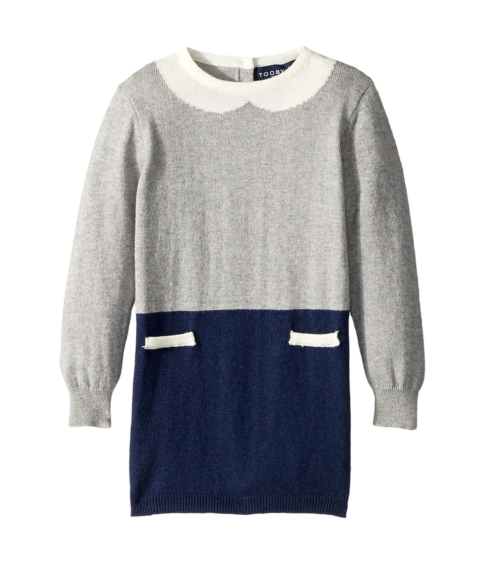 Vintage Style Children's Clothing: Girls, Boys, Baby, Toddler Toobydoo - The Olive Faux Collar Sweater Dress InfantToddler NavyGrey Girls Dress $46.00 AT vintagedancer.com