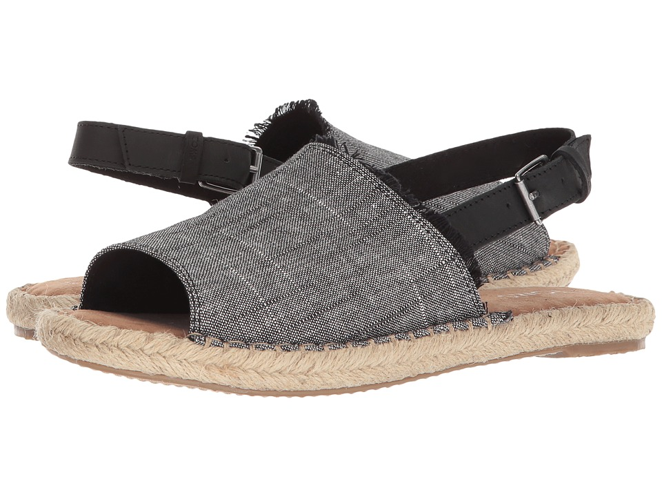 TOMS Clara (Black Textured Chambray/Leather) Slides