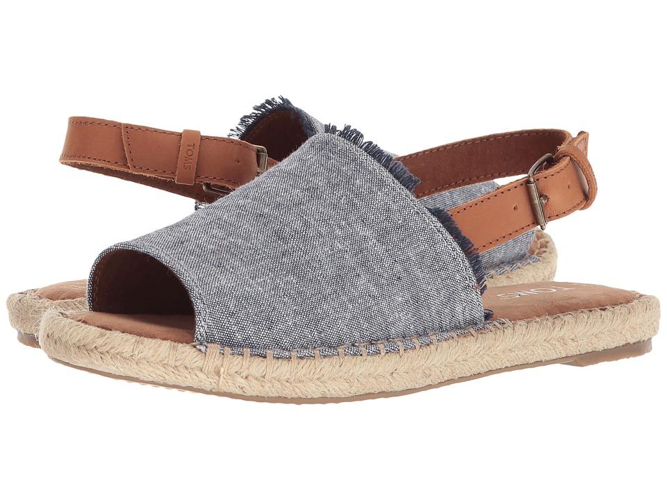 TOMS Clara (Navy Slub Chambray/Leather) Slides