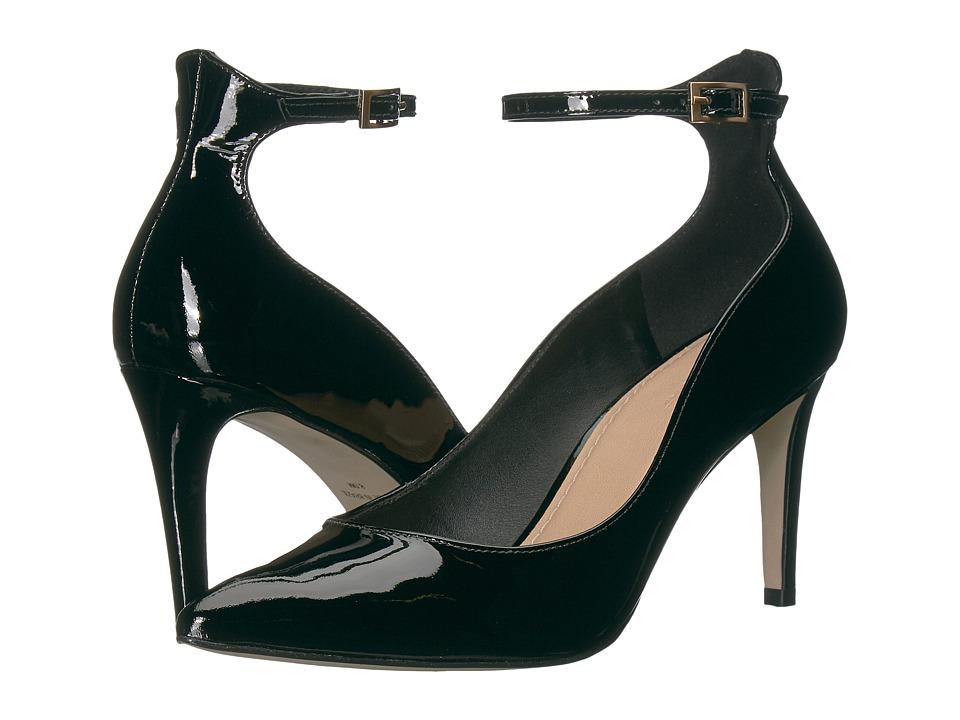 Massimo Matteo Ankle Strap Pump (Black Patent) High Heels