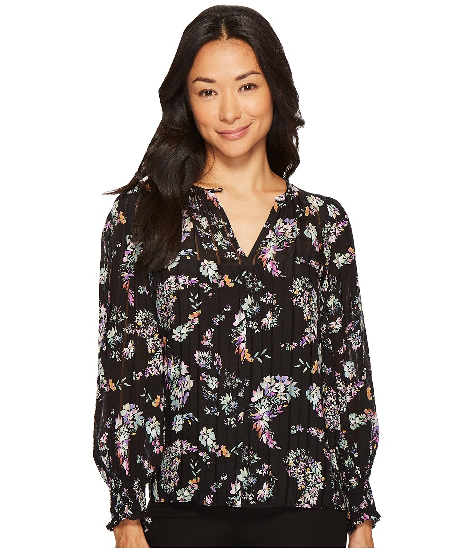 Rebecca Taylor - Long Sleeve Jewel Paisley Top (Black Combo) Womens Clothing