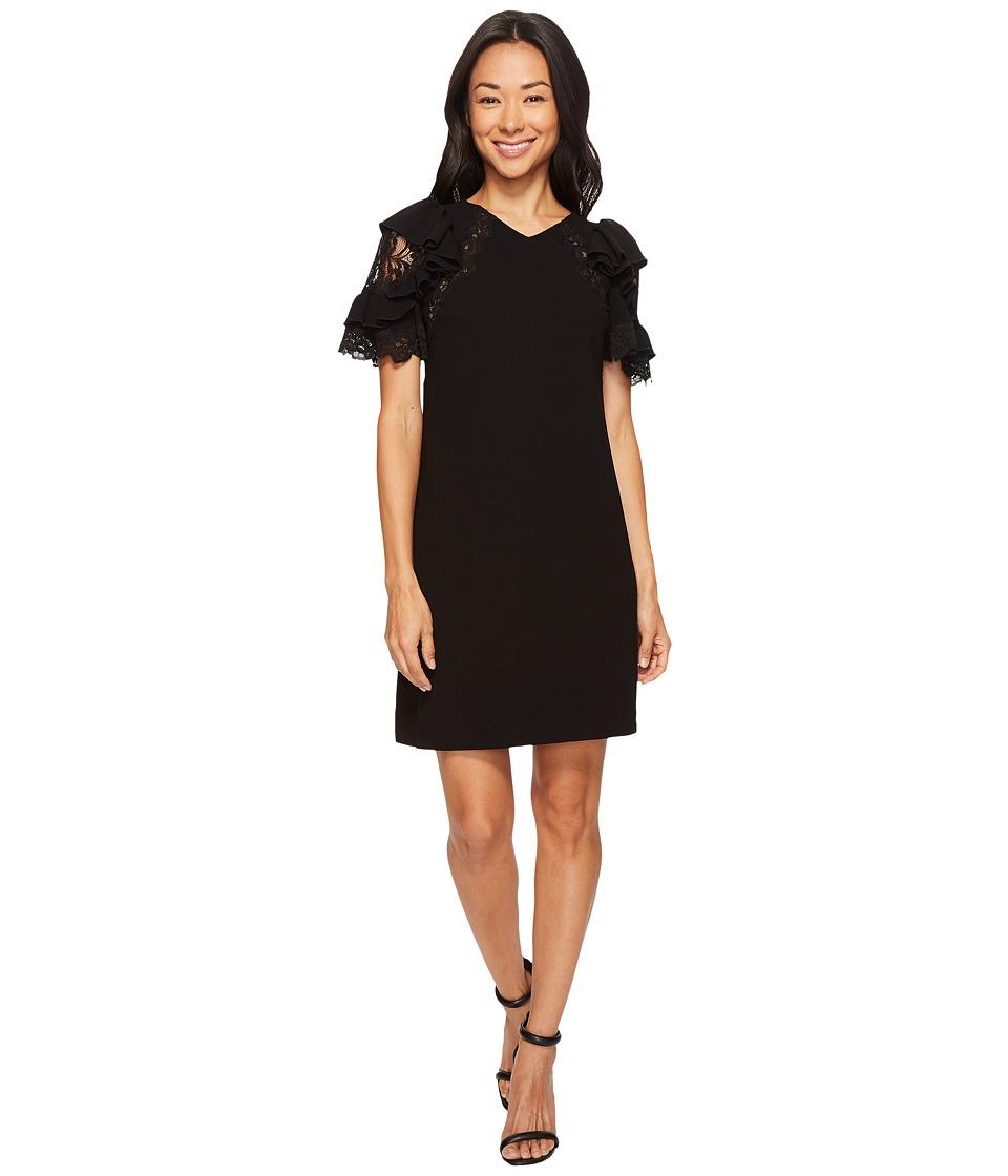 Rebecca Taylor Short Sleeve Crepe Lace Dress (Black) Women