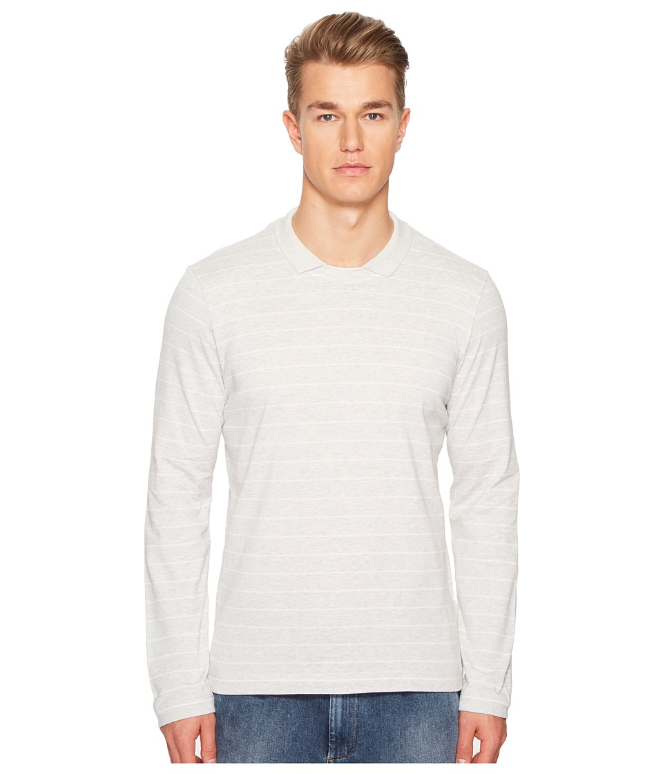 eleventy - Johnny Collar Cotton Sweater (Grey/White) Mens Sweater
