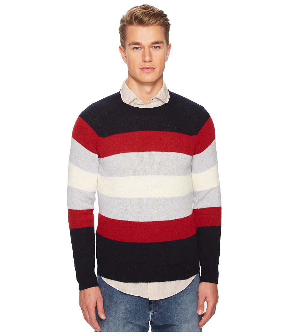 eleventy - Spunia Wide Stripes Sweater (Navy/Red/Cream) Mens Sweater