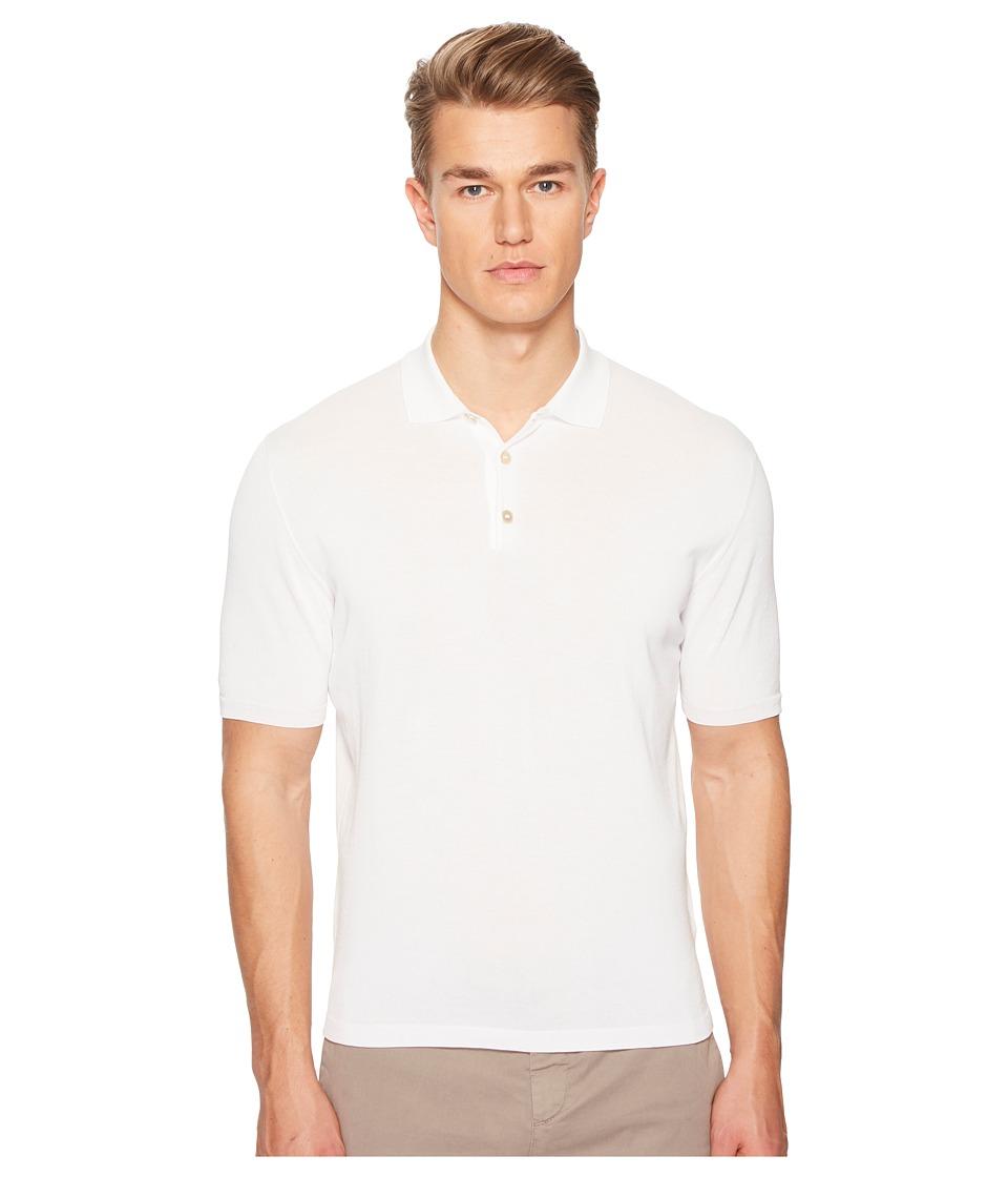 eleventy - Ice Cotton Polo (White) Mens Clothing