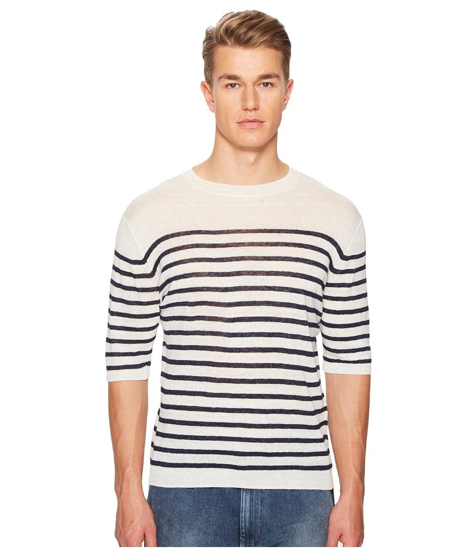 eleventy - Striped Linen Crew Neck T-Shirt (White/Navy) Mens T Shirt