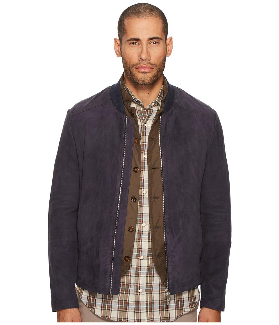 eleventy - Suede Baseball Jacket (Ink) Mens Coat